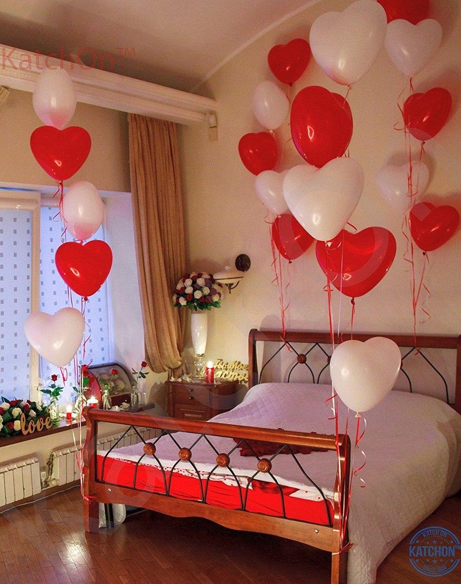 Coraz n globos decoraci n de d a de san valent n amor cama for Cuartos decorados romanticos con globos