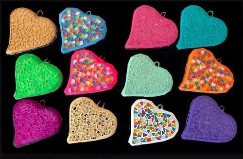 corazon liso ceramica vitral 7cm collar bisutería 10 pzs+envio
