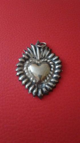 corazon milagro voto dije de plata vintage