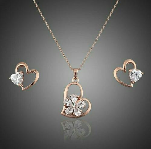 corazón+pendientes baño  oro rosa elemt swarovski cristal