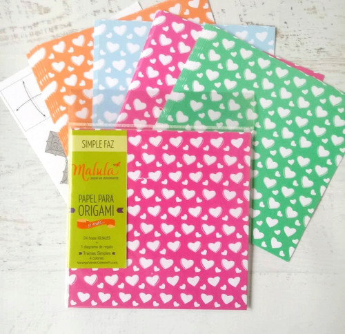 corazones color papel origami  malula 15 x 15 cm y 4 colores