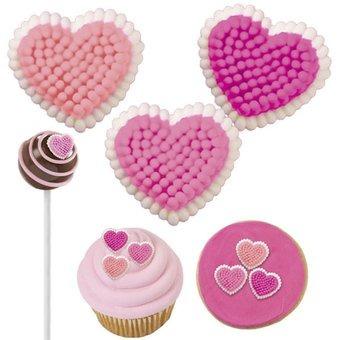 corazones en azúcar pequeños x 81 - wilton - multicolor