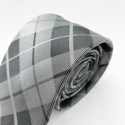 corbata cuadro gris slim tie delgada de moda para hombre 6cm