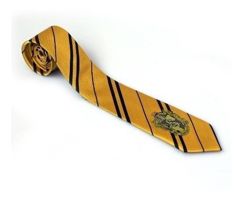 corbata de hufflepuff con logo bordado - harry potter