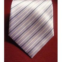 Elegante Corbata Importada De Seda Lila Con Negro, M-539