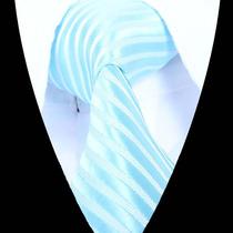 Elegante Corbata De Seda Celeste Con Blanco A Rayas, M-571