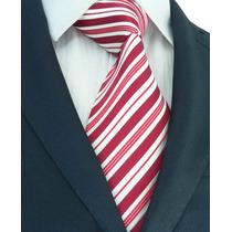 Elegante Corbata De Seda, Color Rojo Y Blanco, M-0036