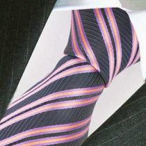 Corbata Seda Negro Con Rosado Y Lila A Rayas.importado.m-299