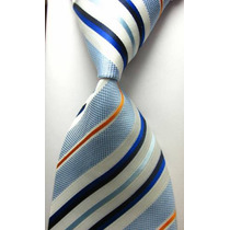 Corbata De Seda Celeste, Azul Y Blanco, Importada. M-296
