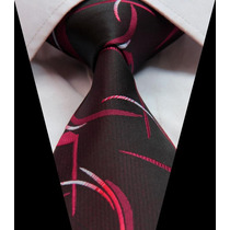 Corbata De Seda Negra,con Diseño Rojiblanco. Importada.m-256