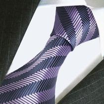 Corbata De Seda Artex Morado Con Negro,importada. M-00140