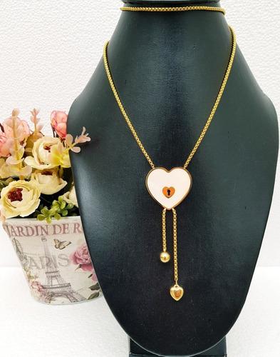 corbatero corazón con madre perla de acero inoxidable