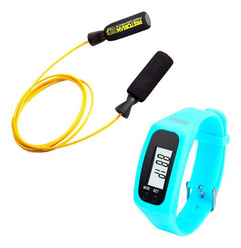 corda de pular crossfit com relógio pedômetro azul liveup
