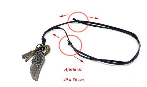 cordao colar corrente masculino pingente asas de anjo