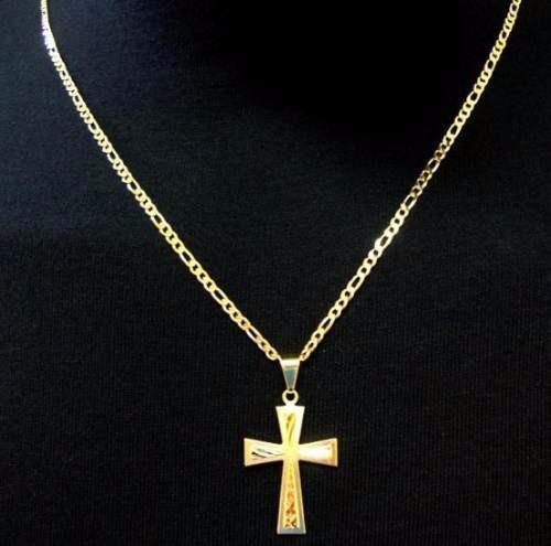 cordao corrente  70cm cruz banhada ouro18k 1 ano de garantia