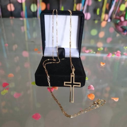 cordao de ouro com crucifixo 1,1 mm por 60 cm