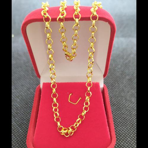 cordao feminino elo português 45cm folheada ouro + garantia