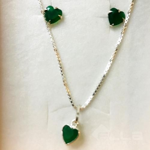cordao feminino prata pura + pingente + brincos coração col