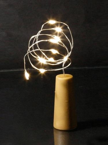 cordao luminoso decorativo rolha 10 leds 3000k taschibra