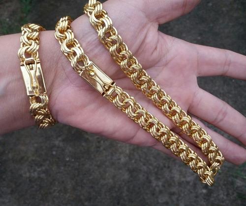cordao masculino friso triplo com pulseira banhados a ouro