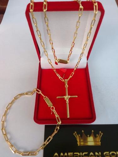 cordao + pulseira + pingente 3mm banhado ouro18k + 2 brindes