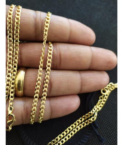 cordao + pulseira + pingente crucifixo 2mm banhado ouro 18k + caixinha