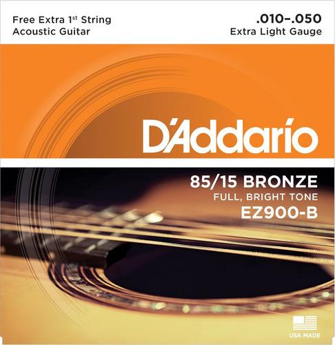 cordas d'addario p/ violão aço ez900 b - .010  - .050  - usa