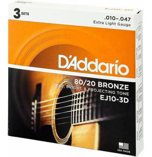 cordas de violão aço daddario .010 kit com 3 packs + palheta