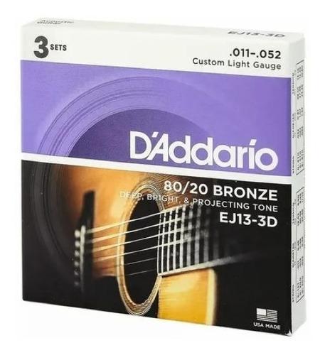 cordas de violão aço daddario .011 kit com 3 packs + palheta