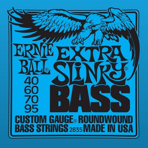cordas p/ baixo 4c ernie ball 2835 extra slinky 040