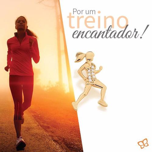 cordão 42 cm pingente mulher treinando corrida joia rommanel