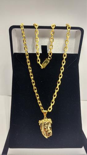 cordão 70cm+puls.cadeado 4mm.banhado a ouro 18k frete gratis