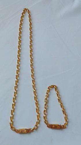 cordão 70cm + pulseira 5mm cadeado dg - banhados a ouro