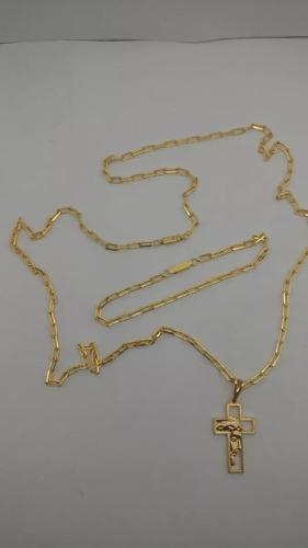 cordão 80cm+puls.cartier 4mm.banhado a ouro 18k +2 pingentes