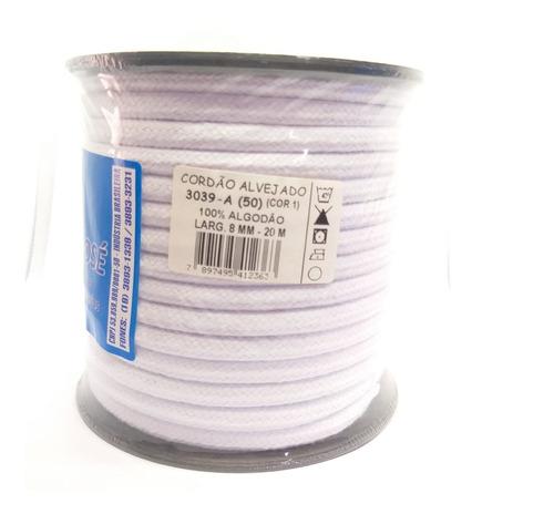 cordão algodão alvejado 08 mm espessura 20 metros