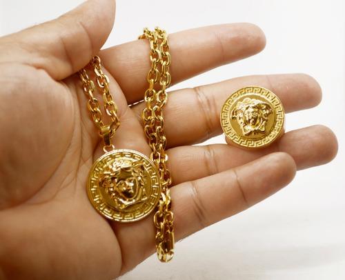 cordão+anel+pulseira+pingente versace medusa banhada ouro