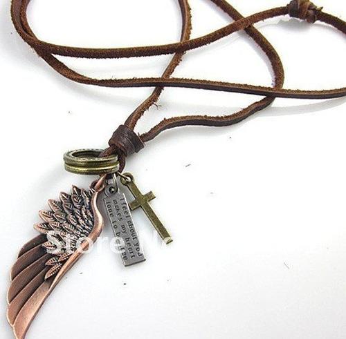 cordão angel masculino asas liberdade hollister couro