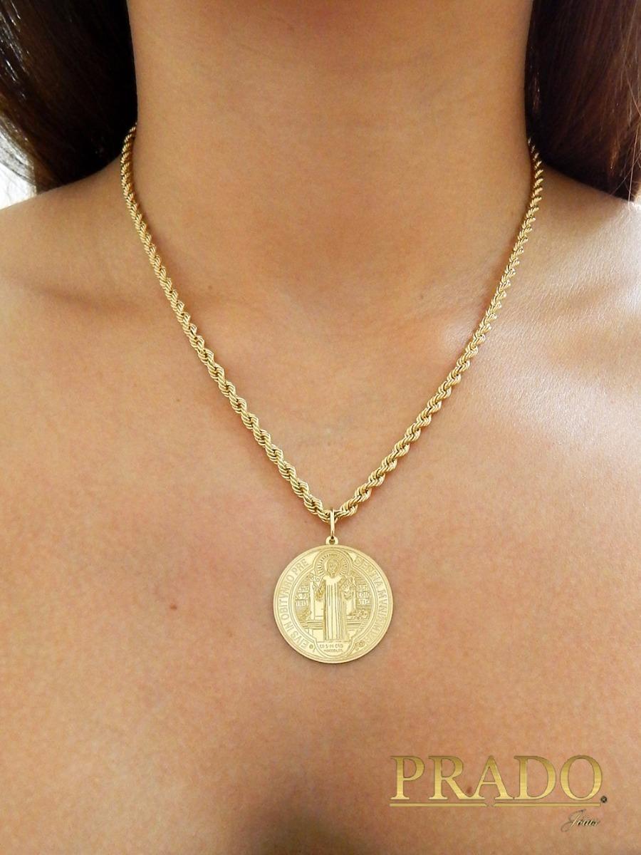 e0ccce0a4c4f2 Cordão Baiano Com Pingente Medalha São Bento Em Ouro 18k - R  1.960 ...