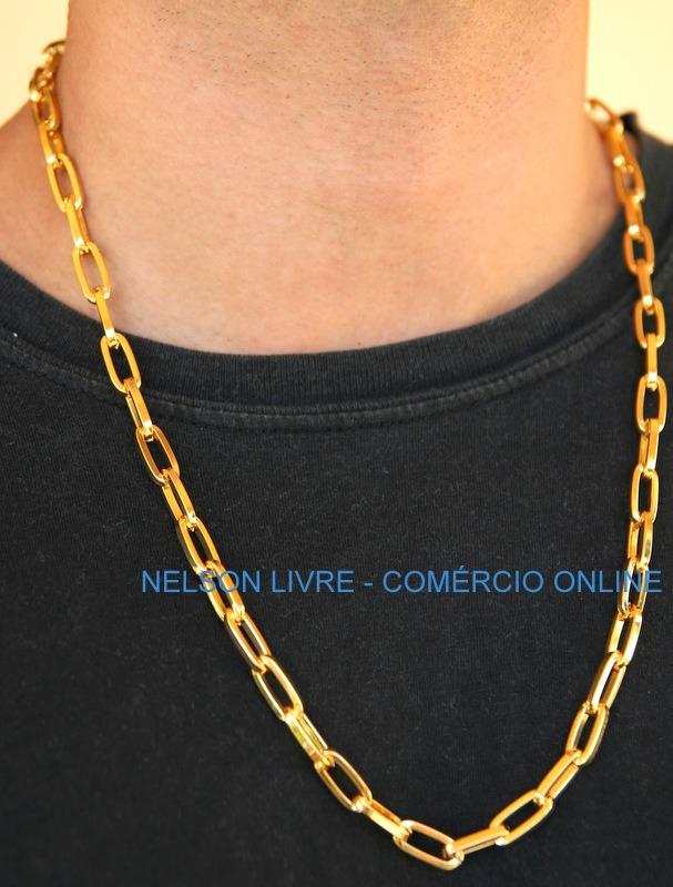 9ac8b9cd22d cordão banhado a ouro 70cm fecho de gaveta + placa letra. Carregando zoom.