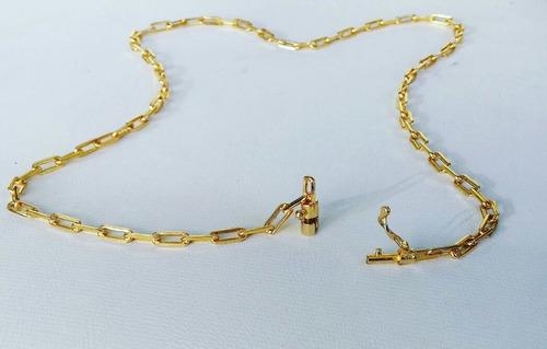 cordão cadeadinho 4mm banhado a ouro - elos soldados