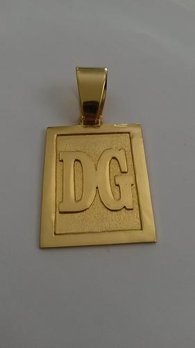 cordão cadeado 14mm e 70cm + placa 2 letras banhados ouro