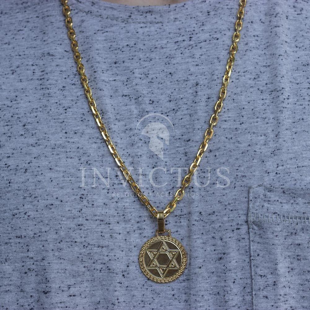 8e17327f8cf cordão cadeado 5mm+medalha estrela de davi banhados aouro18k. Carregando  zoom.
