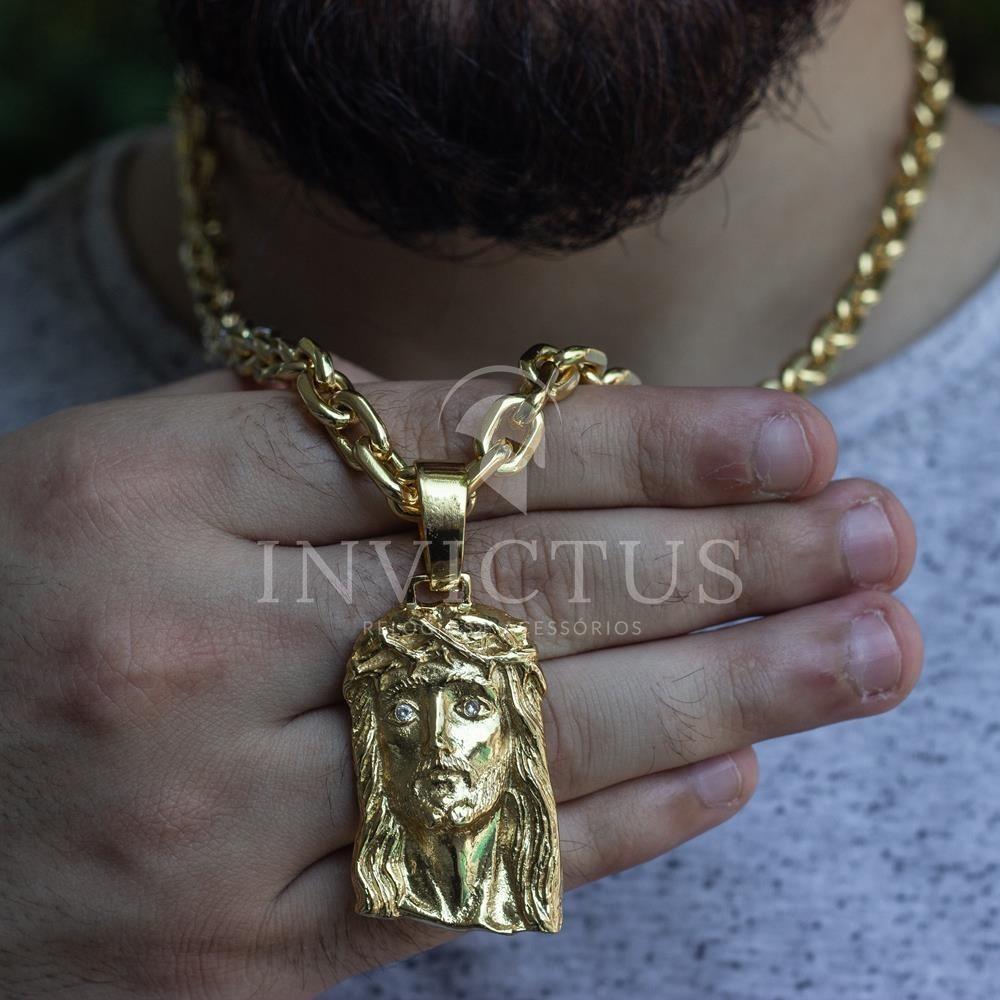 7b6bbdb13da cordão cadeado 7mm 60cm+ pingente cristo banhados a ouro 18k. Carregando  zoom.