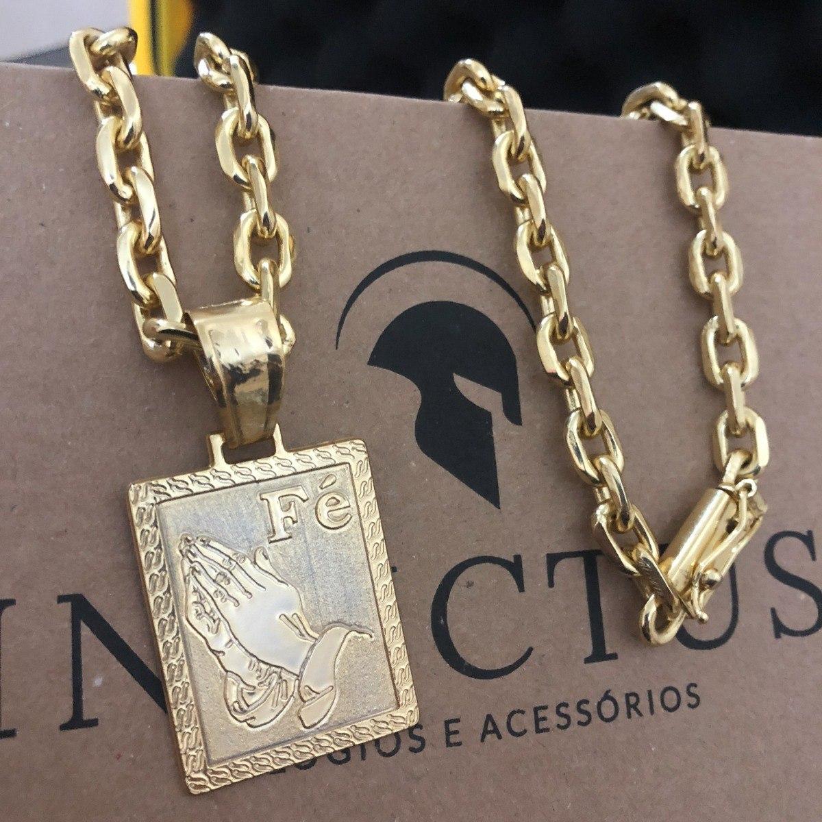 dee6b167da1 cordão cadeado 7mm 70cm+ pingente fé banhados a ouro 18k. Carregando zoom.