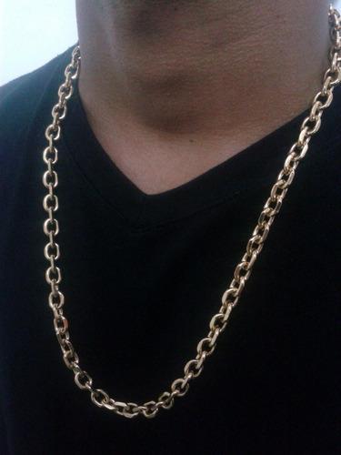 cordão cadeado 9mm banhado a ouro - fecho trava tripla