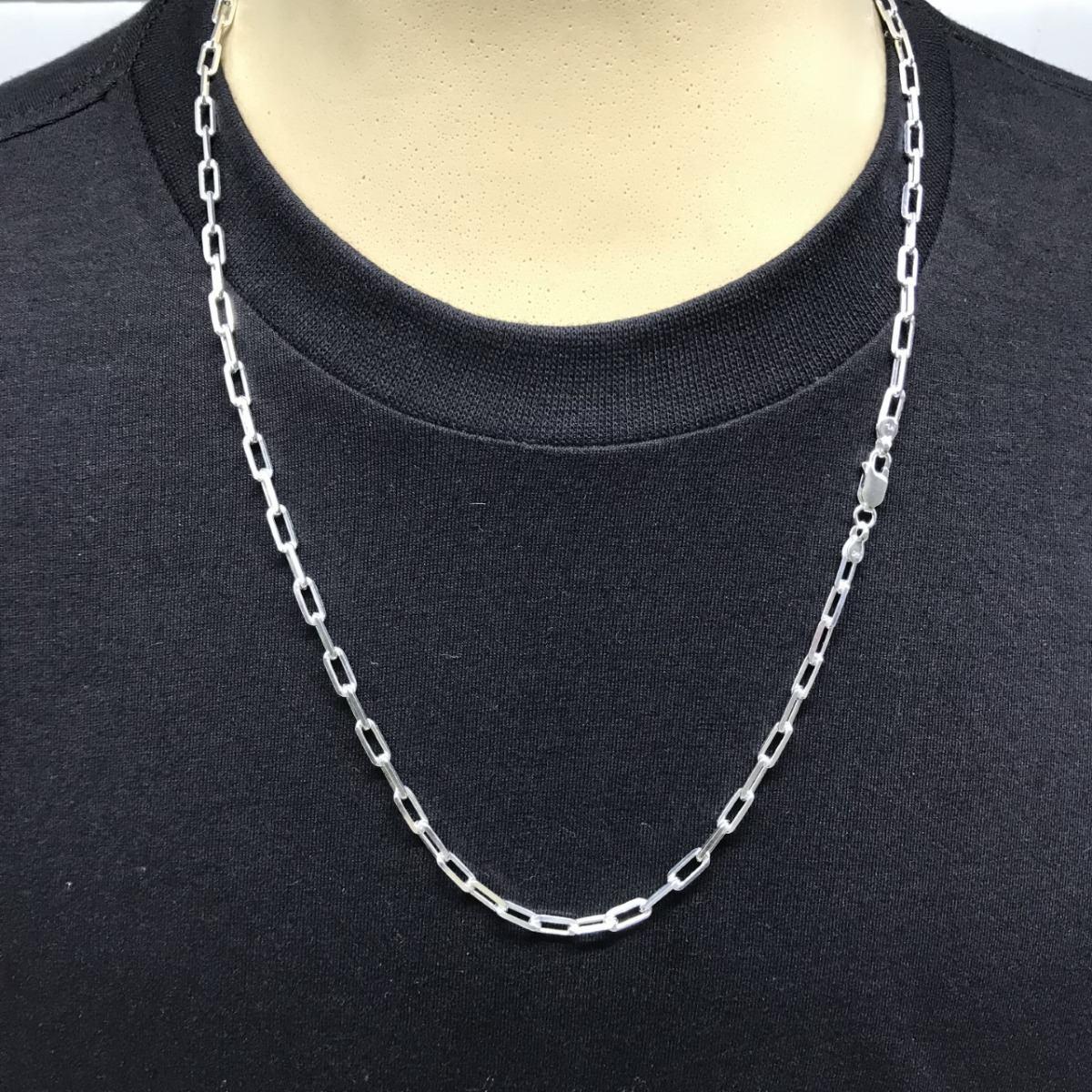 875454b503c cordão cartie cadeado longa 4mm 60cm prata 925 masculina. Carregando zoom.