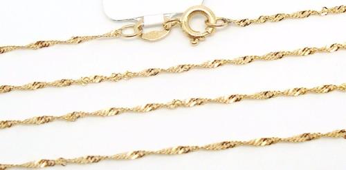cordão colar corrente singapura feminina de ouro 18k-750