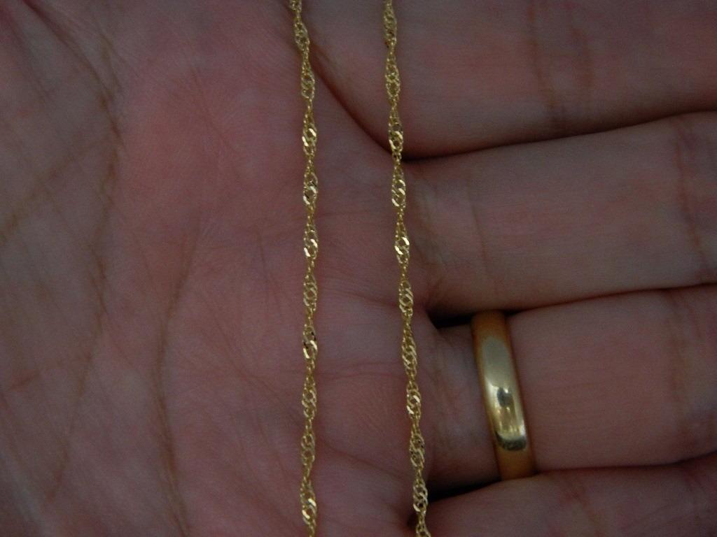 cordão colar corrente singapura feminina de ouro 18k-750. Carregando zoom. d688c25876