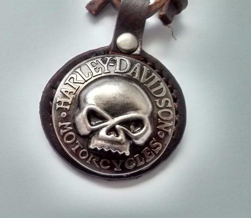 cordão colar couro harley davidson skull masculino moto 1%