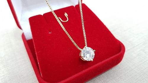 cordão colar feminino ponto de luz folheado ouro 18 + brinde